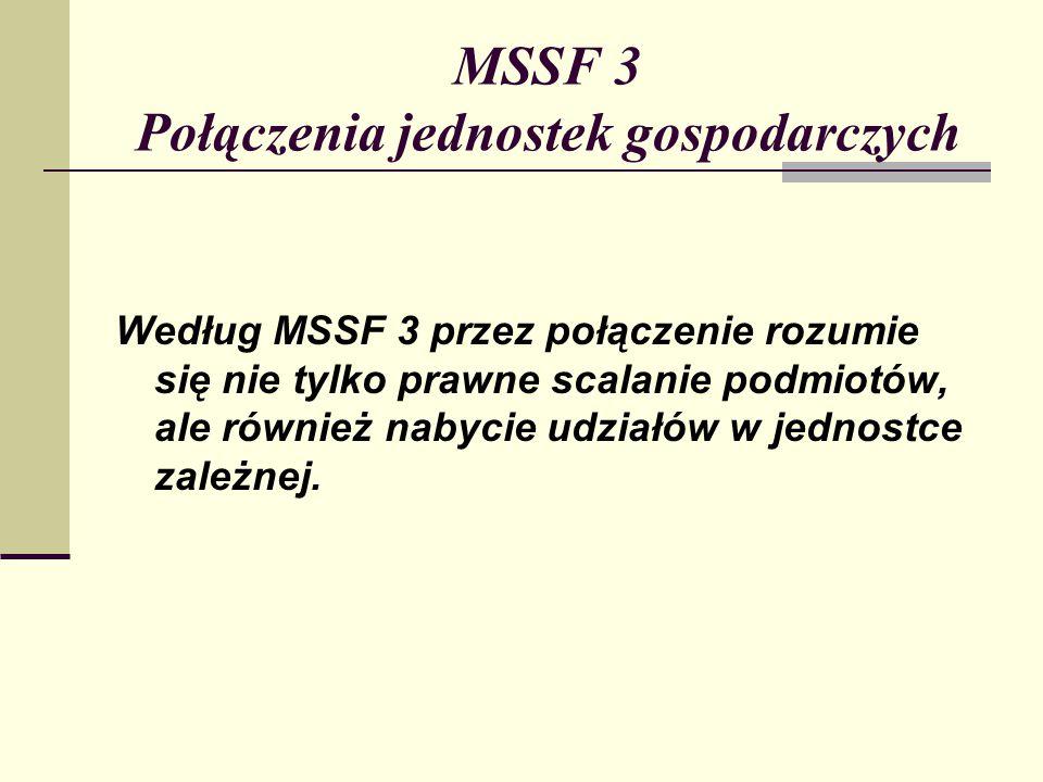 MSSF 3 Połączenia jednostek gospodarczych Według MSSF 3 przez połączenie rozumie się nie tylko prawne scalanie podmiotów, ale również nabycie udziałów w jednostce zależnej.