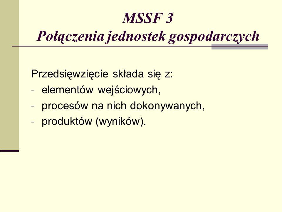 MSSF 3 Połączenia jednostek gospodarczych Przedsięwzięcie składa się z: - elementów wejściowych, - procesów na nich dokonywanych, - produktów (wyników).
