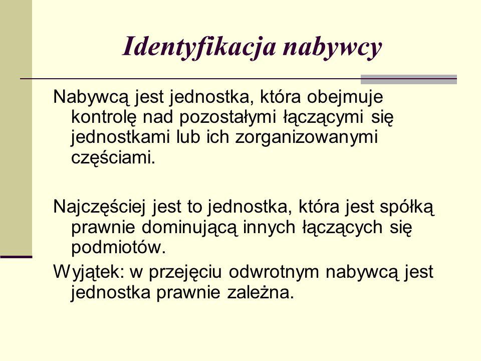Identyfikacja nabywcy Nabywcą jest jednostka, która obejmuje kontrolę nad pozostałymi łączącymi się jednostkami lub ich zorganizowanymi częściami.