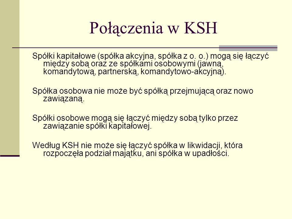 Połączenia w KSH Spółki kapitałowe (spółka akcyjna, spółka z o.