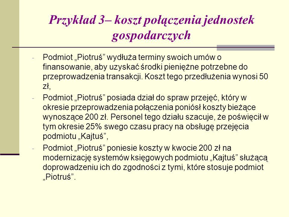 """Przykład 3– koszt połączenia jednostek gospodarczych - Podmiot """"Piotruś wydłuża terminy swoich umów o finansowanie, aby uzyskać środki pieniężne potrzebne do przeprowadzenia transakcji."""