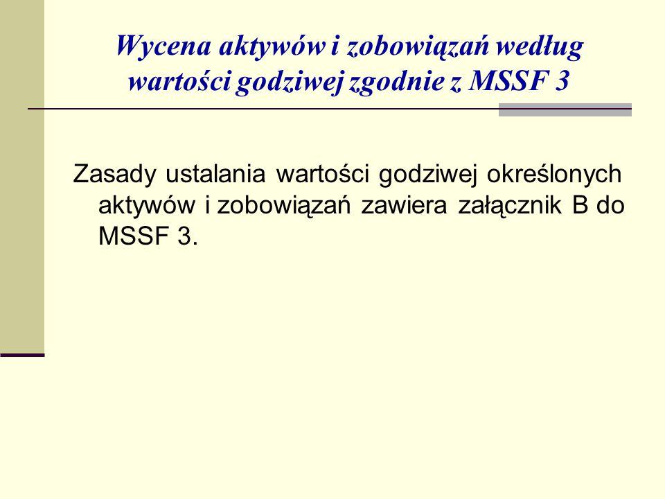 Wycena aktywów i zobowiązań według wartości godziwej zgodnie z MSSF 3 Zasady ustalania wartości godziwej określonych aktywów i zobowiązań zawiera załącznik B do MSSF 3.