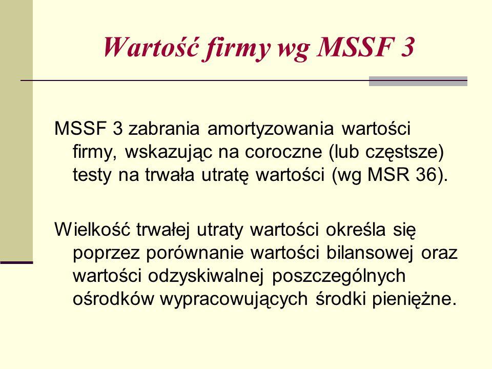 Wartość firmy wg MSSF 3 MSSF 3 zabrania amortyzowania wartości firmy, wskazując na coroczne (lub częstsze) testy na trwała utratę wartości (wg MSR 36).