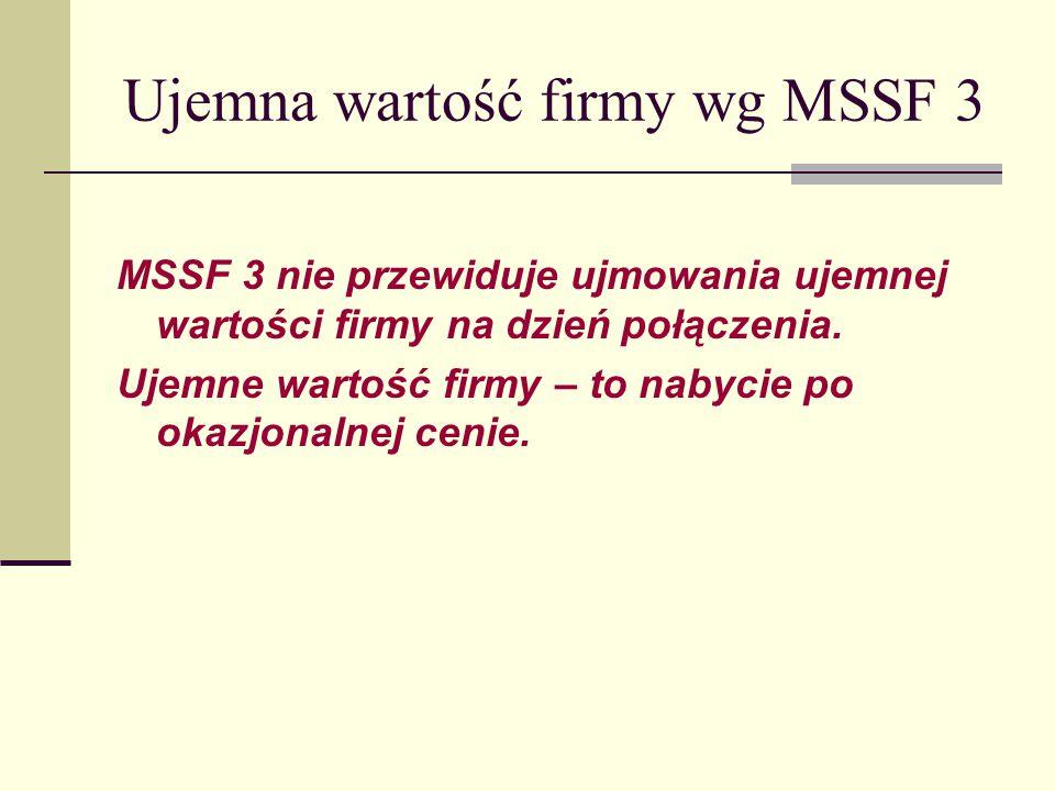 Ujemna wartość firmy wg MSSF 3 MSSF 3 nie przewiduje ujmowania ujemnej wartości firmy na dzień połączenia.