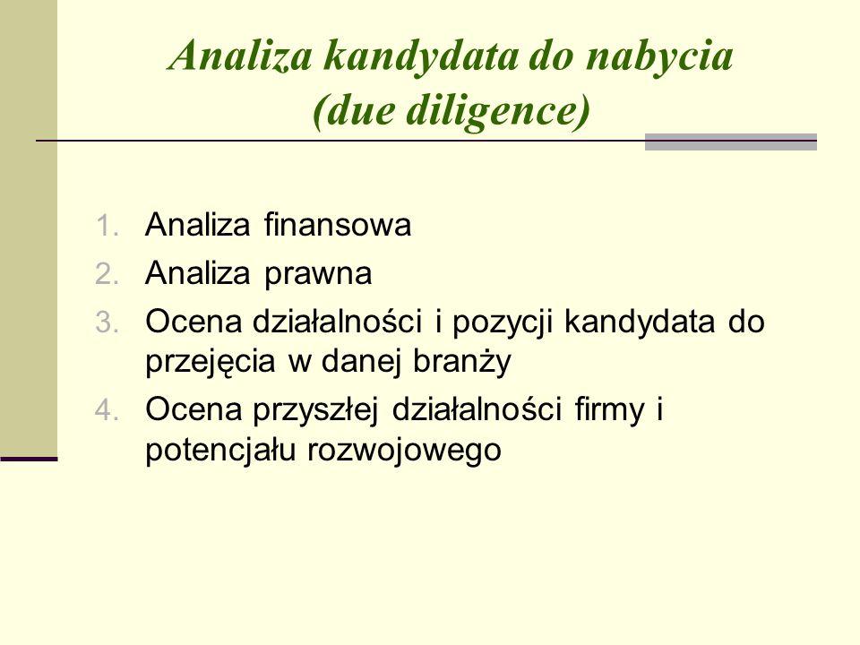 Analiza kandydata do nabycia (due diligence) 1.Analiza finansowa 2.