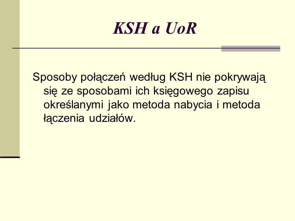 KSH a UoR Sposoby połączeń według KSH nie pokrywają się ze sposobami ich księgowego zapisu określanymi jako metoda nabycia i metoda łączenia udziałów.