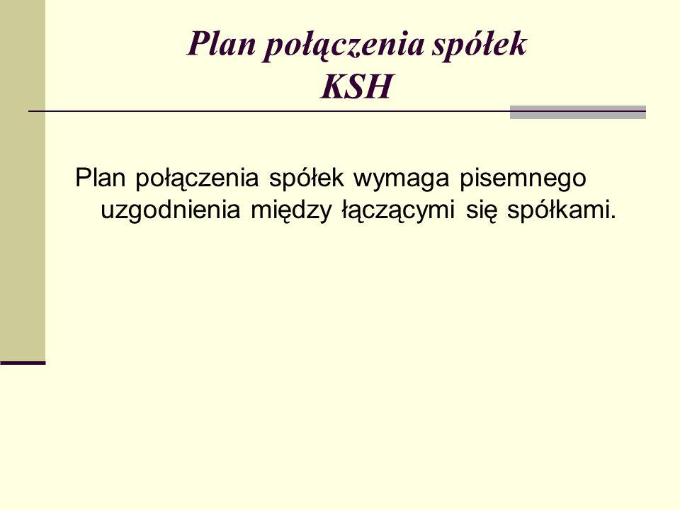Plan połączenia spółek KSH Plan połączenia spółek wymaga pisemnego uzgodnienia między łączącymi się spółkami.