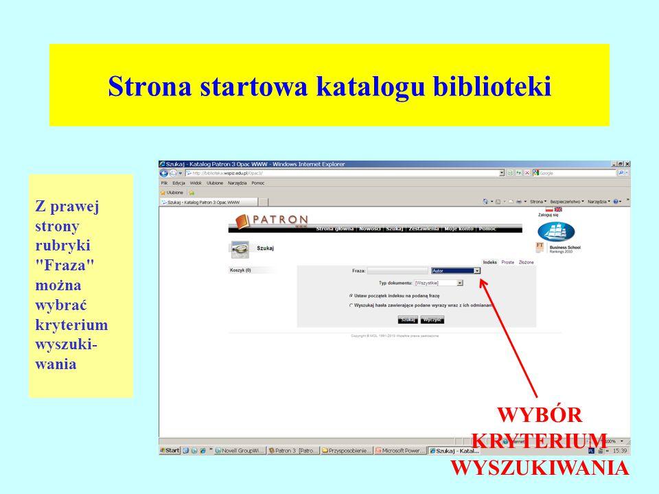 Strona startowa katalogu biblioteki Z prawej strony rubryki
