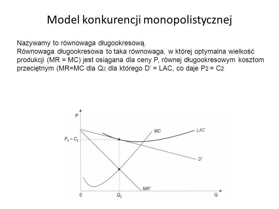 Model konkurencji monopolistycznej Nazywamy to równowaga długookresową. Równowaga długookresowa to taka równowaga, w której optymalna wielkość produkc