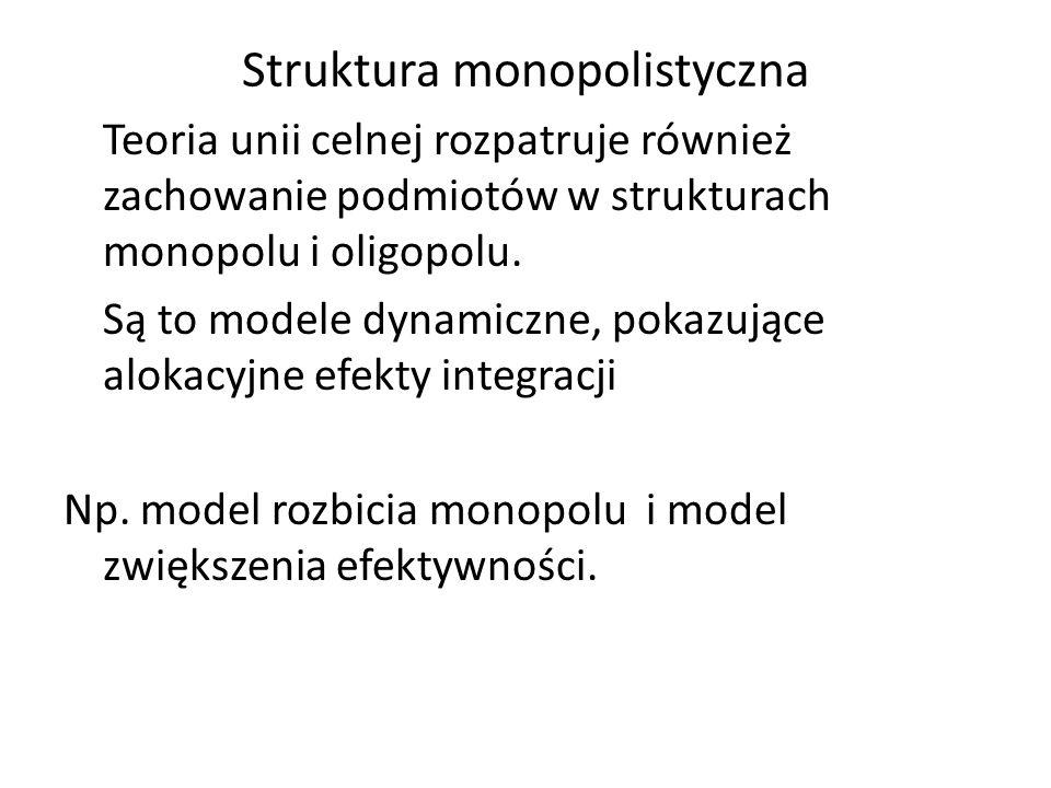 Struktura monopolistyczna Teoria unii celnej rozpatruje również zachowanie podmiotów w strukturach monopolu i oligopolu. Są to modele dynamiczne, poka