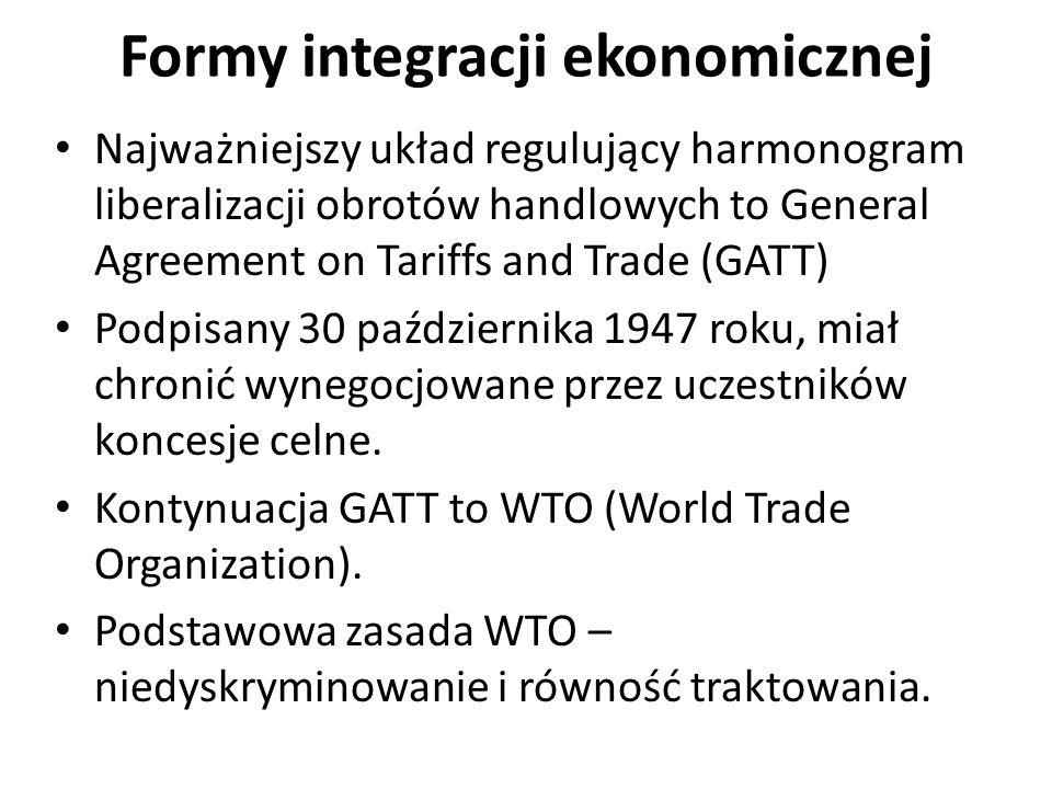 Najważniejszy układ regulujący harmonogram liberalizacji obrotów handlowych to General Agreement on Tariffs and Trade (GATT) Podpisany 30 października