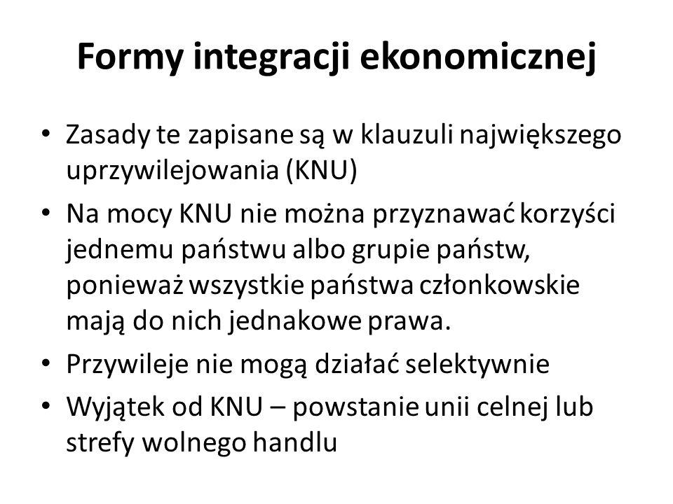 Zasady te zapisane są w klauzuli największego uprzywilejowania (KNU) Na mocy KNU nie można przyznawać korzyści jednemu państwu albo grupie państw, pon