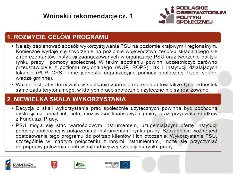 Wnioski i rekomendacje cz. 1 1.