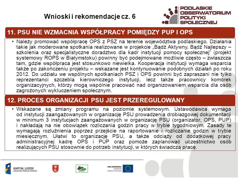 11. PSU NIE WZMACNIA WSPÓŁPRACY POMIĘDZY PUP I OPS Należy promować współpracę OPS z PSZ na terenie województwa podlaskiego. Działania takie jak modero