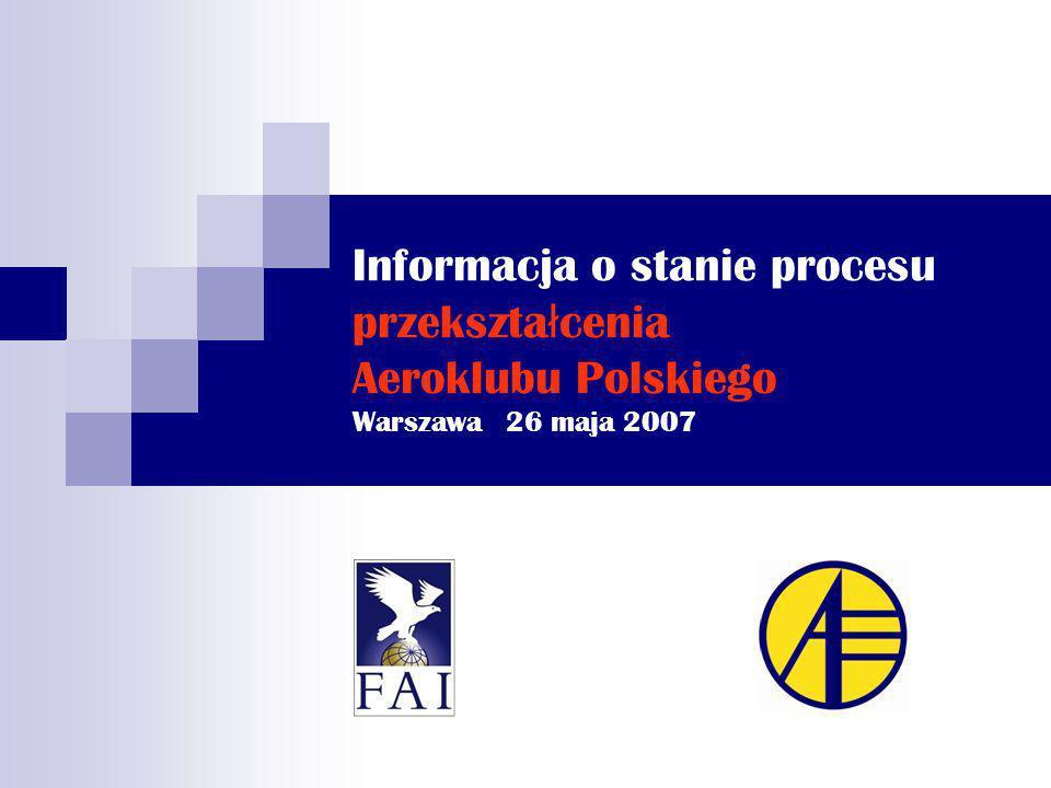 Informacja o stanie procesu przekszta ł cenia Aeroklubu Polskiego Warszawa 26 maja 2007