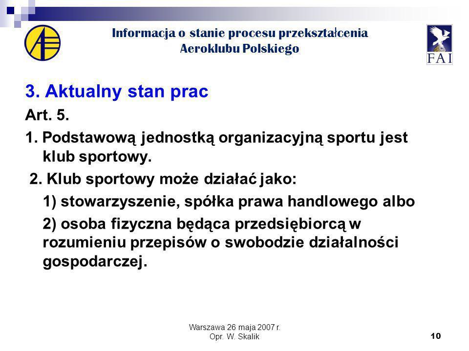 10 Informacja o stanie procesu przekszta ł cenia Aeroklubu Polskiego 3.