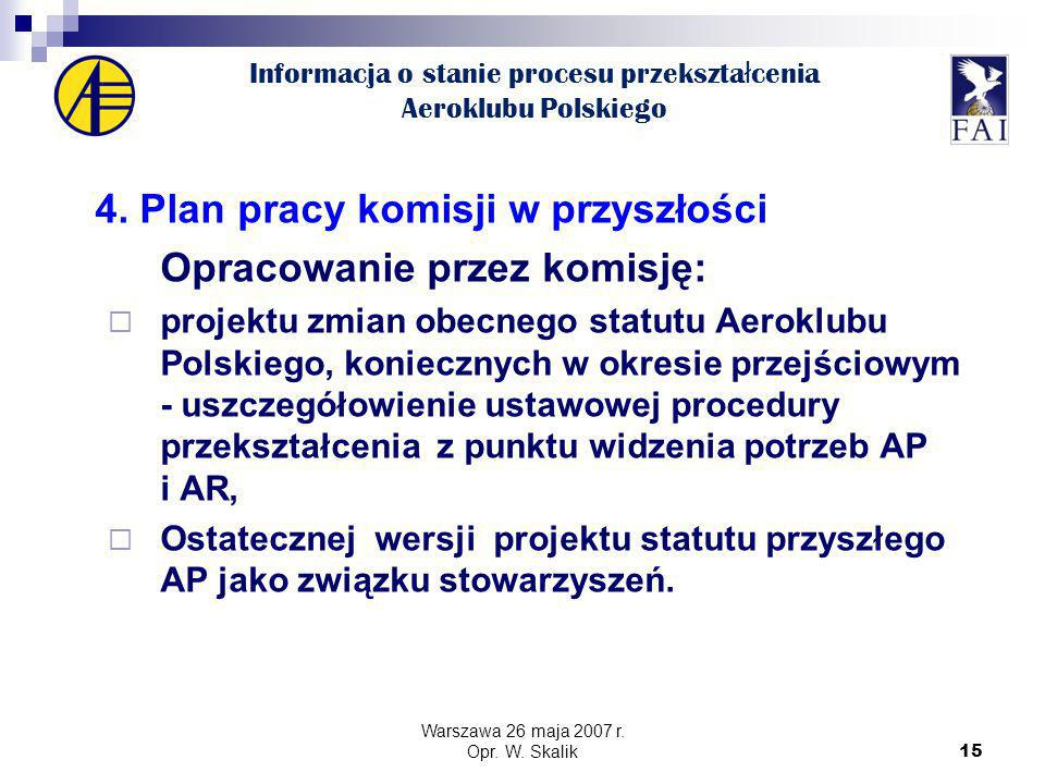 15 Informacja o stanie procesu przekszta ł cenia Aeroklubu Polskiego 4.