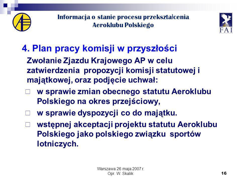 16 Informacja o stanie procesu przekszta ł cenia Aeroklubu Polskiego 4.