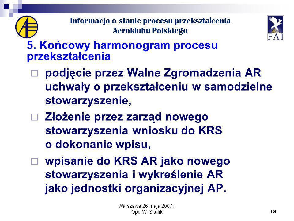 18 Informacja o stanie procesu przekszta ł cenia Aeroklubu Polskiego 5.