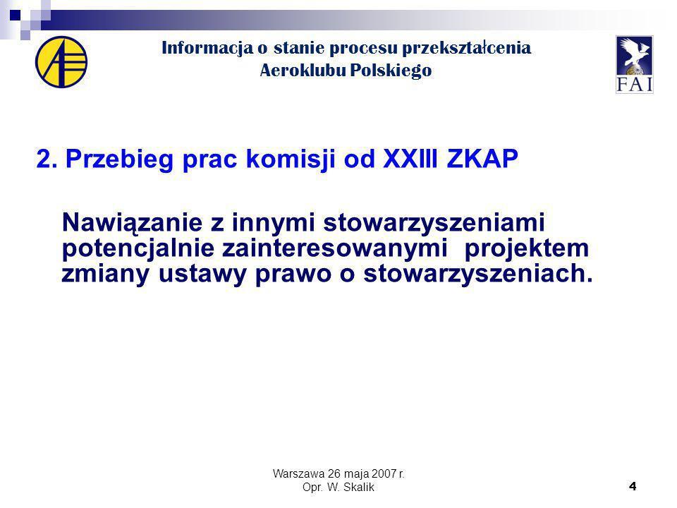 4 Informacja o stanie procesu przekszta ł cenia Aeroklubu Polskiego 2.