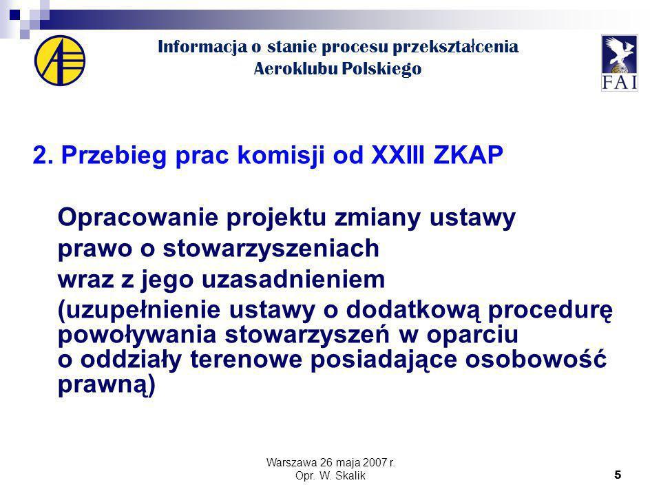 5 Informacja o stanie procesu przekszta ł cenia Aeroklubu Polskiego 2.