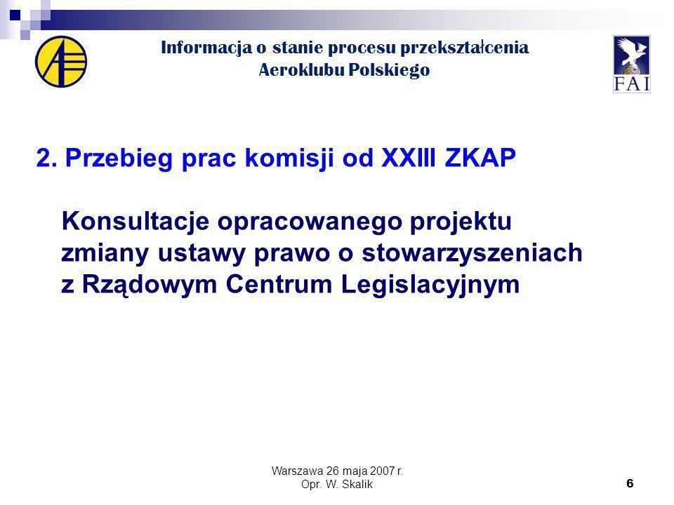 6 Informacja o stanie procesu przekszta ł cenia Aeroklubu Polskiego 2.