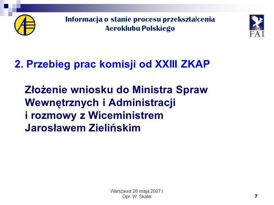 7 Informacja o stanie procesu przekszta ł cenia Aeroklubu Polskiego 2.