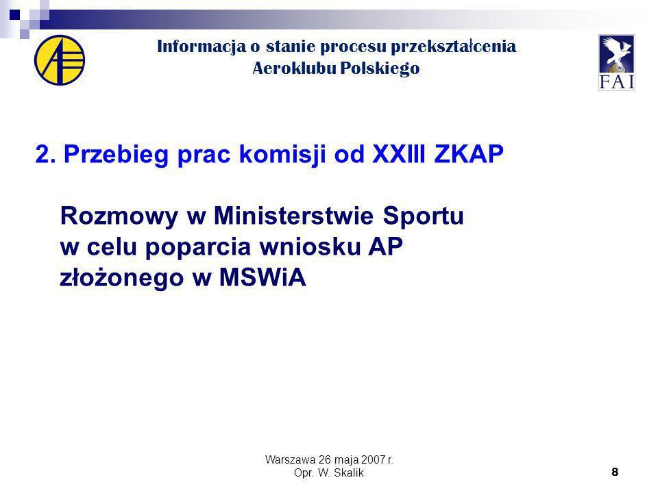 8 Informacja o stanie procesu przekszta ł cenia Aeroklubu Polskiego 2.