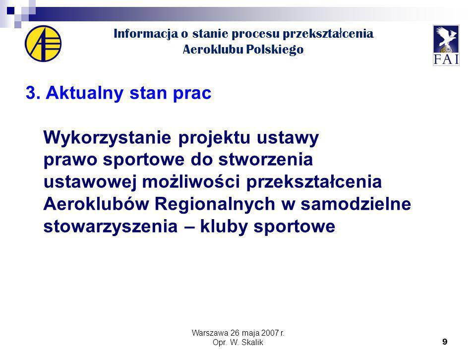 9 Informacja o stanie procesu przekszta ł cenia Aeroklubu Polskiego 3.