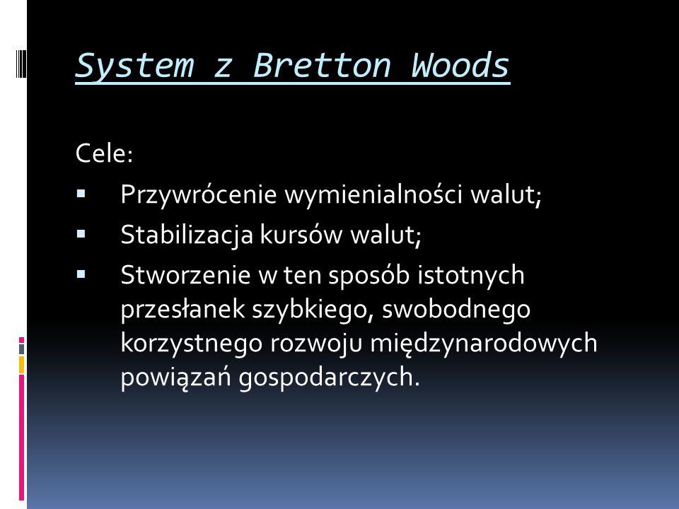 System z Bretton Woods Cele:  Przywrócenie wymienialności walut;  Stabilizacja kursów walut;  Stworzenie w ten sposób istotnych przesłanek szybkieg