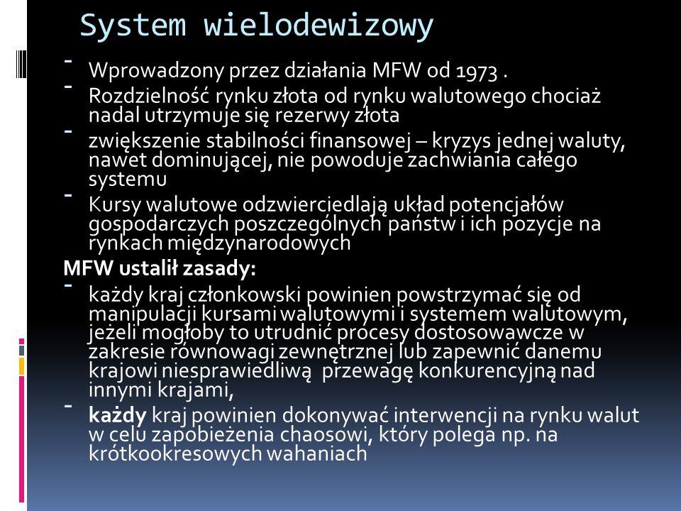 System wielodewizowy - Wprowadzony przez działania MFW od 1973. - Rozdzielność rynku złota od rynku walutowego chociaż nadal utrzymuje się rezerwy zło