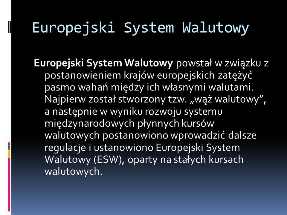 Europejski System Walutowy Europejski System Walutowy powstał w związku z postanowieniem krajów europejskich zatężyć pasmo wahań między ich własnymi w