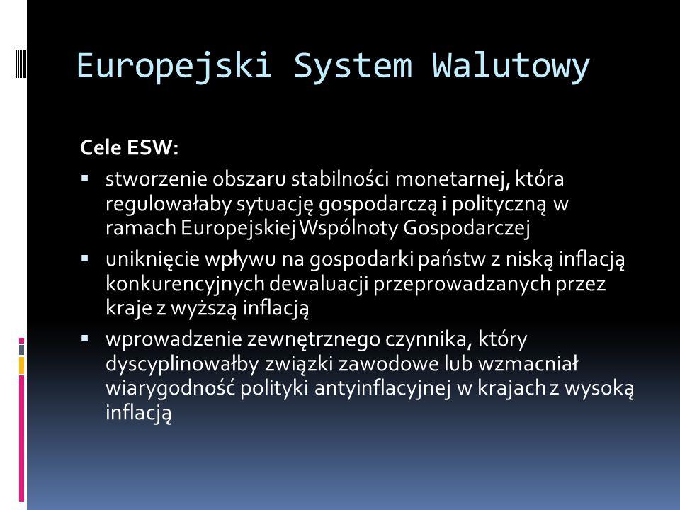 Europejski System Walutowy Cele ESW:  stworzenie obszaru stabilności monetarnej, która regulowałaby sytuację gospodarczą i polityczną w ramach Europe