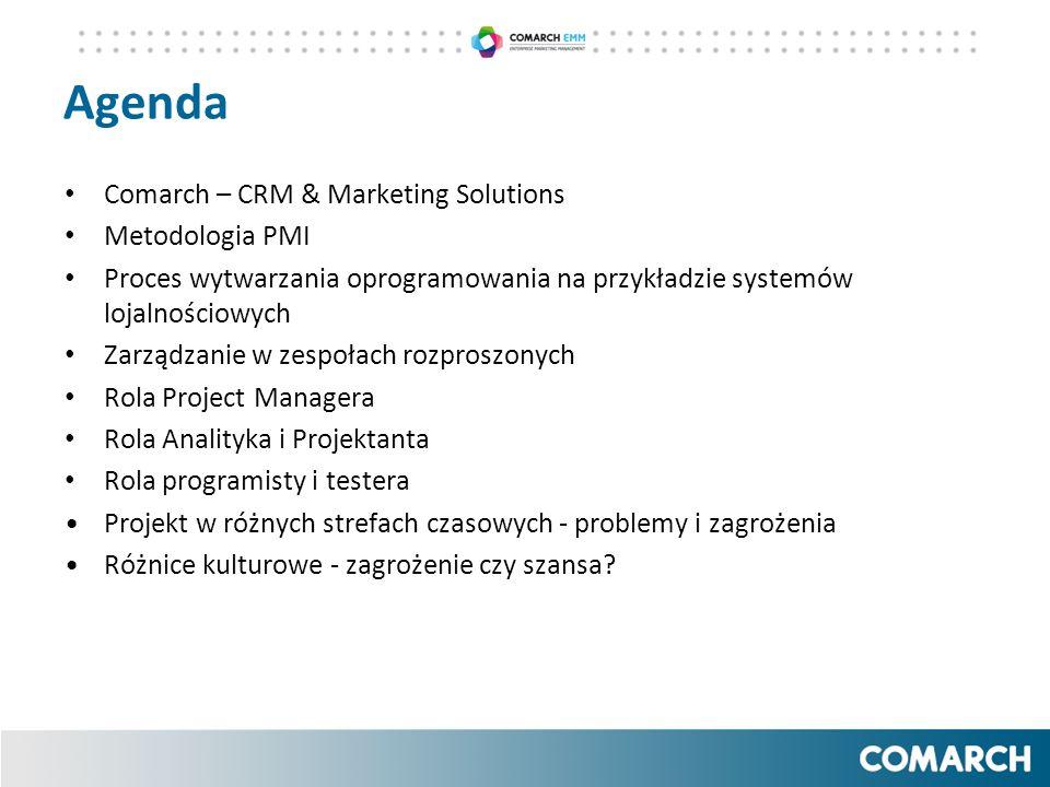 Agenda Comarch – CRM & Marketing Solutions Metodologia PMI Proces wytwarzania oprogramowania na przykładzie systemów lojalnościowych Zarządzanie w zes