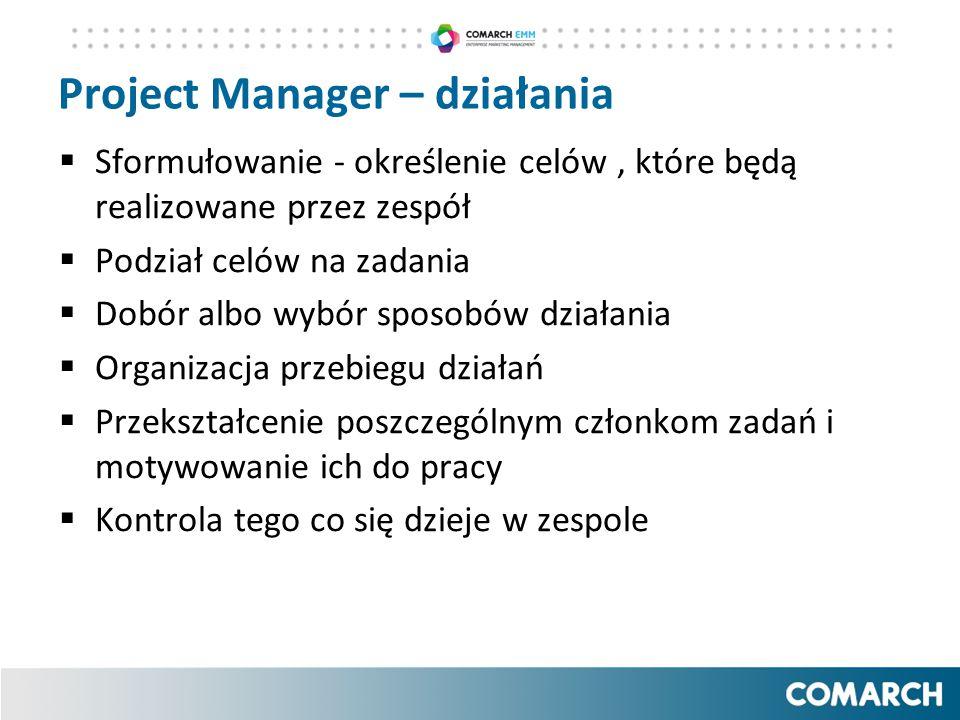 Project Manager – działania  Sformułowanie - określenie celów, które będą realizowane przez zespół  Podział celów na zadania  Dobór albo wybór spos