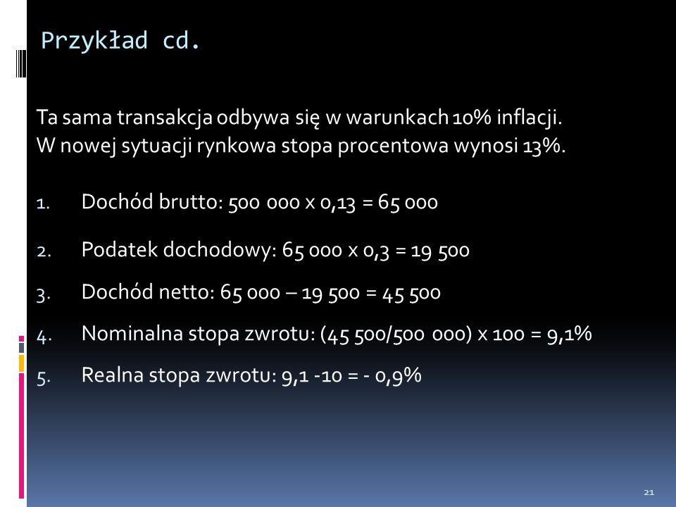 Przykład cd. Ta sama transakcja odbywa się w warunkach 10% inflacji. W nowej sytuacji rynkowa stopa procentowa wynosi 13%. 1. Dochód brutto: 500 000 x