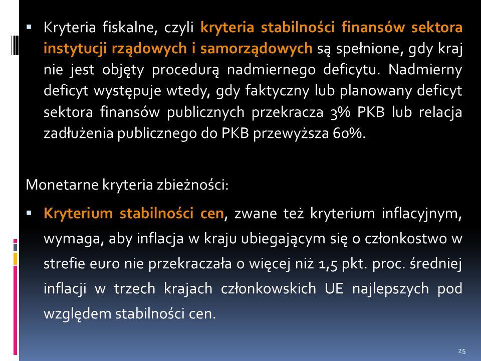  Kryteria fiskalne, czyli kryteria stabilności finansów sektora instytucji rządowych i samorządowych są spełnione, gdy kraj nie jest objęty procedurą