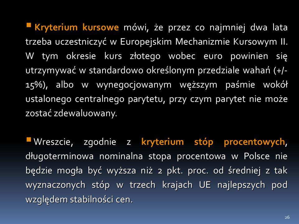 26  Kryterium kursowe mówi, że przez co najmniej dwa lata trzeba uczestniczyć w Europejskim Mechanizmie Kursowym II. W tym okresie kurs złotego wobec