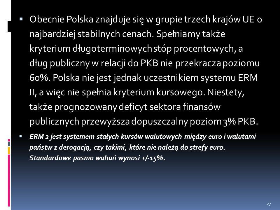  Obecnie Polska znajduje się w grupie trzech krajów UE o najbardziej stabilnych cenach. Spełniamy także kryterium długoterminowych stóp procentowych,