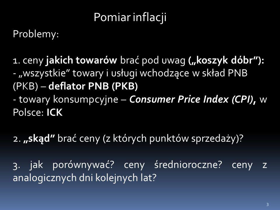 """3 Problemy: 1. ceny jakich towarów brać pod uwag (""""koszyk dóbr""""): - """"wszystkie"""" towary i usługi wchodzące w skład PNB (PKB) – deflator PNB (PKB) - tow"""
