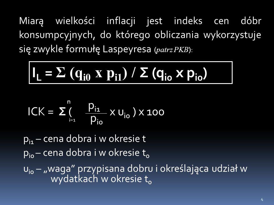 4 Miarą wielkości inflacji jest indeks cen dóbr konsumpcyjnych, do którego obliczania wykorzystuje się zwykle formułę Laspeyresa ( patrz PKB ): I L =