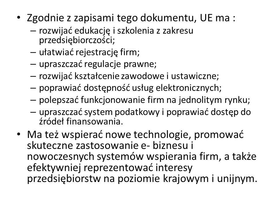 Zgodnie z zapisami tego dokumentu, UE ma : – rozwijać edukację i szkolenia z zakresu przedsiębiorczości; – ułatwiać rejestrację firm; – upraszczać reg