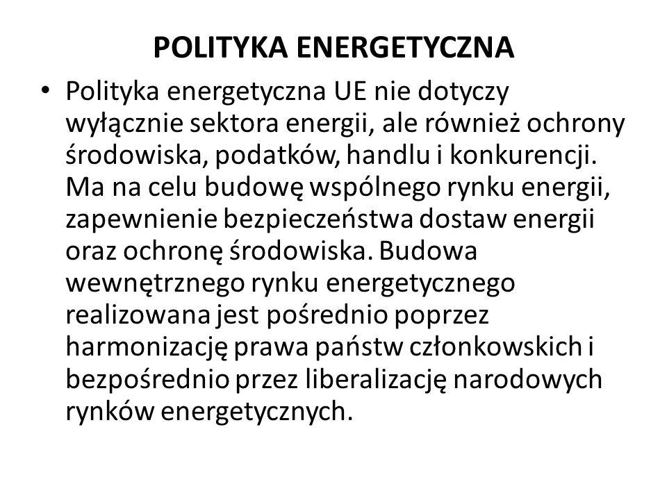POLITYKA ENERGETYCZNA Polityka energetyczna UE nie dotyczy wyłącznie sektora energii, ale również ochrony środowiska, podatków, handlu i konkurencji.