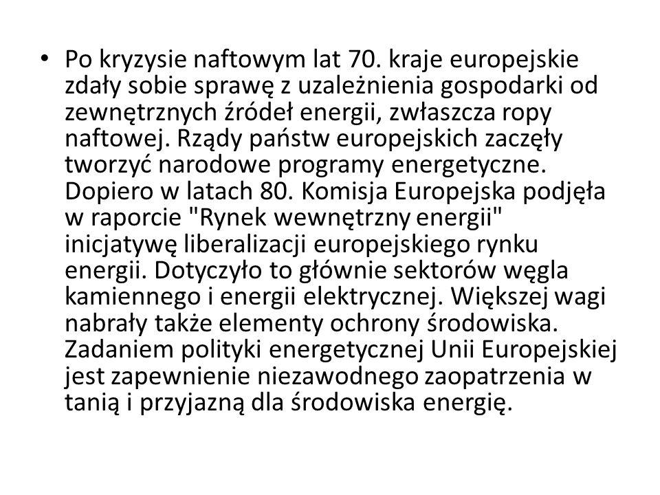 Po kryzysie naftowym lat 70. kraje europejskie zdały sobie sprawę z uzależnienia gospodarki od zewnętrznych źródeł energii, zwłaszcza ropy naftowej. R