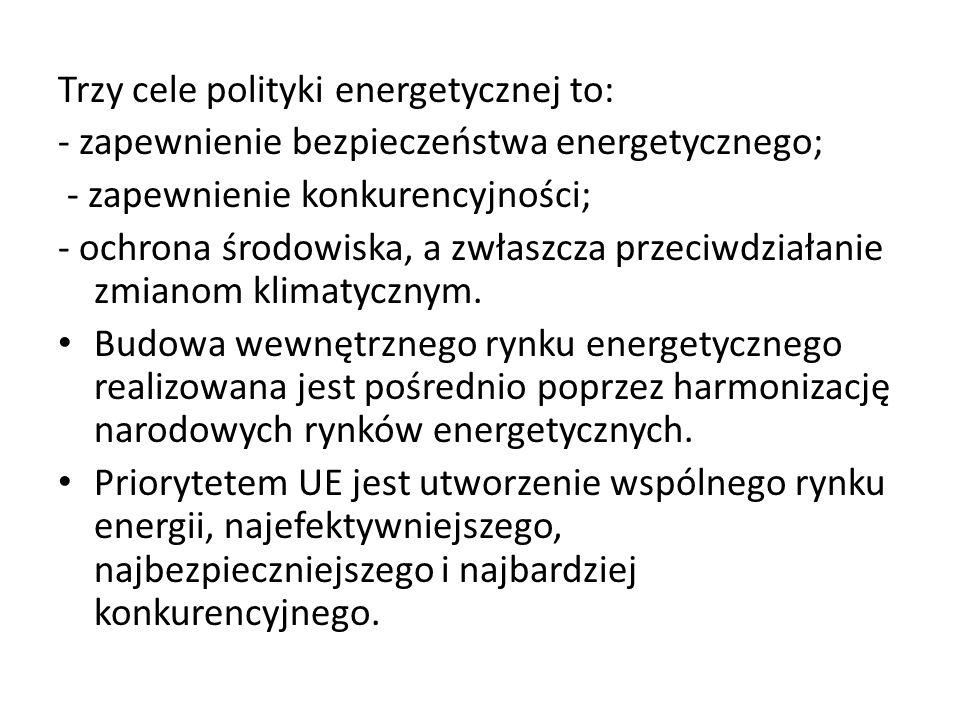Trzy cele polityki energetycznej to: - zapewnienie bezpieczeństwa energetycznego; - zapewnienie konkurencyjności; - ochrona środowiska, a zwłaszcza pr