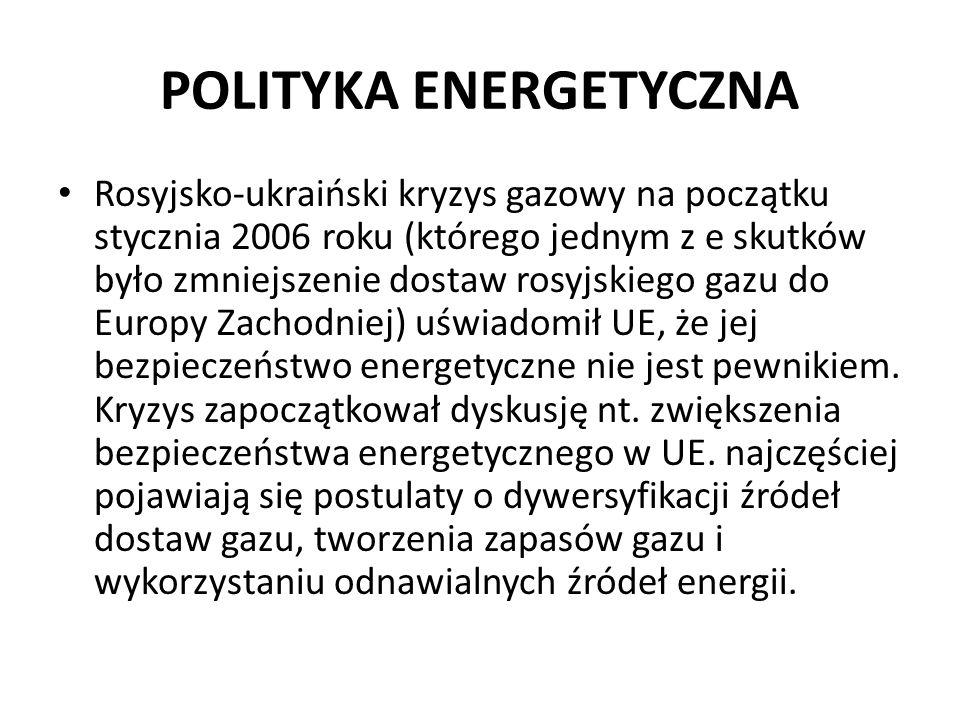 POLITYKA ENERGETYCZNA Rosyjsko-ukraiński kryzys gazowy na początku stycznia 2006 roku (którego jednym z e skutków było zmniejszenie dostaw rosyjskiego