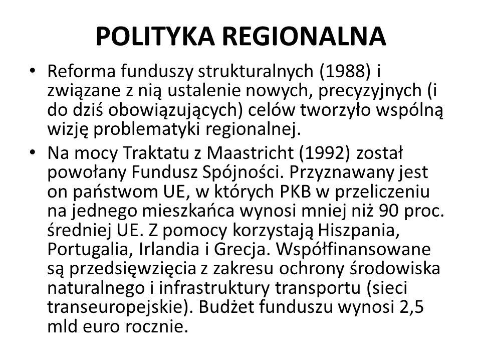 POLITYKA REGIONALNA Reforma funduszy strukturalnych (1988) i związane z nią ustalenie nowych, precyzyjnych (i do dziś obowiązujących) celów tworzyło w
