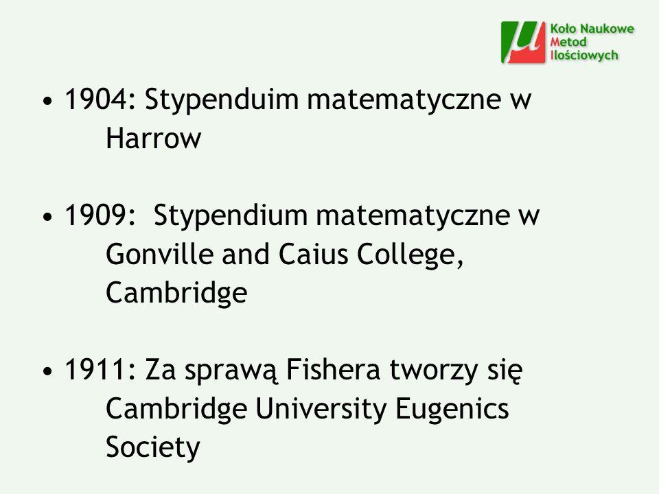 1904: Stypenduim matematyczne w Harrow 1909: Stypendium matematyczne w Gonville and Caius College, Cambridge 1911: Za sprawą Fishera tworzy się Cambri