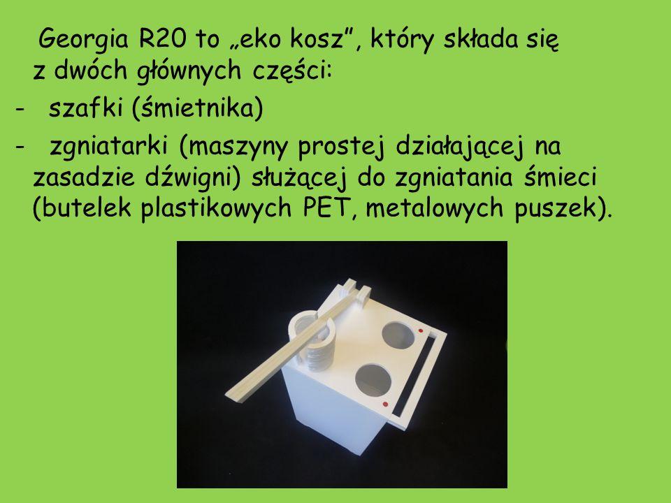 """Georgia R20 to """"eko kosz"""", który składa się z dwóch głównych części: - szafki (śmietnika) - zgniatarki (maszyny prostej działającej na zasadzie dźwign"""