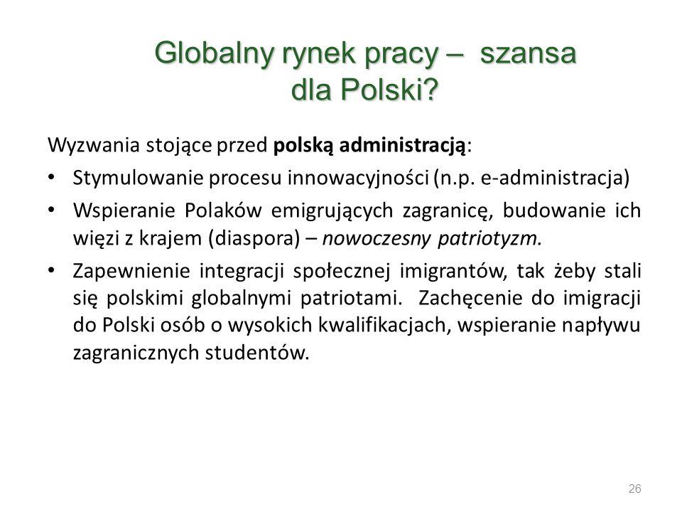 Wyzwania stojące przed polską administracją: Stymulowanie procesu innowacyjności (n.p. e-administracja) Wspieranie Polaków emigrujących zagranicę, bud